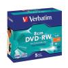 Verbatim 8cm DVD-RW for Camera Slim Case Speed 2x Capacity 1.4GB Ref 43514 [Pack 5]