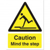 Stewart Superior Caution Mind The Step Sign  W150xH200mm Self-adhesive Vinyl Ref WO131SAV