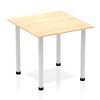 Sonix Square Silver Post Leg Table 800x800mm Maple Ref BF00205