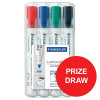 Staedtler 351 Marker Dry-wipe Whiteboard Locked Tip 2mm Line Wallet Assorted Ref 351 WP4 [Pack 4]