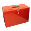 Metal File with 5 Suspension Files 2 Keys and Index Tabs Steel Foolscap Red