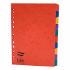 Europa Heavy-duty Subject Dividers 10-Part Card Multipunched 300gsm A4 Assorted Ref 4802Z