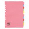 5 Star Office Subject Dividers 12-Part Recycled Card Multipunched 155gsm A4 Assorted