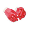 Knitted Wrist Gloves Cotton & PVC Large Red [12 Pairs]