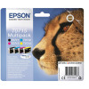 Epson T0715 IJCartCheetah 495pp Blk 7.4ml/495pp Cyan/280pp Mag/480pp Yel 5.5ml Ref C13T07154012 [Pack 4]