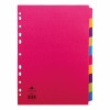 Concord Bright Subject Dividers 10-Part Card Multipunched 160gsm A4 Assorted Ref 50899