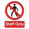 Stewart Superior Staff Only Sign W150xH200mm Self-adhesive Vinyl Ref P085SAV