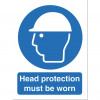 Stewart Superior Head Protection Must Be Worn Sign W150xH200mm Self-adhesive Vinyl Ref M005SAV