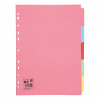 5 Star Office Subject Dividers 5-Part Recycled Card Multipunched 155gsm A4 White