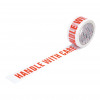 5 Star Office Printed Tape Handle with Care Polypropylene 48mmx66m Red Text on White [Pack 6]