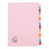 5 Star Office Subject Dividers 15-Part Recycled Card Multipunched 155gsm A4 Assorted