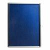 5 Star Office Noticeboard Glazed Lockable Aluminium Trim Blue Felt Board H900xW600mm