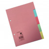 5 Star Office Subject Dividers 5-Part Recycled Card Two-hole Punched 155gsm A5 Assorted