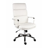 Teknik Office Deco Retro Style Executive White Faux Leather Chair Matching Removable Arm Covers