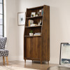 Teknik Office Hampstead Park Wide Bookcase Grand Walnut Effect Finish Two Fixed Display Shelves One Adjustable Shelf Sliding Doors and Sturdy Wooden F