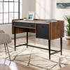 Teknik Office Hampstead Compact Desk Grand Walnut Effect Finish Spacious Work Area Pencil Drawer Filer Drawer and Powdercoated Contrasting Metal Base