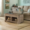 Teknik Office Barrister Home Lift Up Coffee Table Salt Oak Finish with Deep Hidden Storage space Open Shelf Cubby Holes and Unique Lift up Top