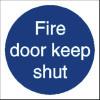Fire Door Keep Shut Sign Self Adhesive Vinyl 100x100mm White/Blue Ref M014SAV Each