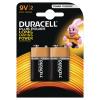Duracell Plus Battery 9V (Pack of 2) 81275459