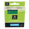 Dymo Black on Green 4500 D1 Standard Tape 12mmx7m S0720590