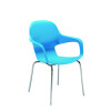 Arista Cafe Bistro Chair with Chrome Base Blue KF78675