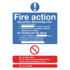 Safety Sign Fire Action Standard A5 Self-Adhesive FR03551S