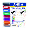 Artline 2-in-1 Whiteboard Marker Bullet/Chisel Tip Assorted (Pack of 8) EK525TA