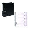 Guildhall Lever Arch File A4 80mm Black (Pack of 10) FOC 1-10 Mylar Dividers GH811499