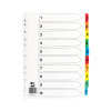 Q-Connect Multi-Punched 1-10 Reinforced Multi-Colour A4 Index Numbered Tabs KF01519