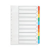 Q-Connect Multi-Punched 10-Part Reinforced A4 Index Multi-Colour Blank Tabs KF01526