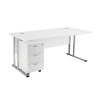 First Rectangular Desk and Pedestal Bundle 1600mm and 3 Drawer Under Desk Pedestal White KF838160