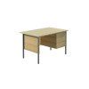 Jemini Ferrera Oak 1200mm Four Leg Desk With Three Drawer Pedestal KF838374