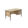 Jemini Ferrera Oak 1500mm Four Leg Desk With Two Drawer Pedestal KF838376