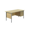 Jemini Ferrera Oak 1500mm Four Leg Desk With Three Drawer Pedestal KF838378