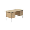 Jemini Ferrera Oak 1500mm Four Leg Desk With Double Pedestal KF838380