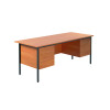 Jemini Intro 4 Leg Double Pedestal Desk 1800mm Bavarian Beech KF838755