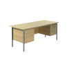 Jemini Intro 4 Leg Double Pedestal Desk 1800mm Ferrera Oak KF838777