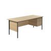 Jemini Intro 4 Leg Desk 1800mm With 2 Drawer Pedestal Ferrera Oak KF838798