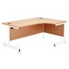 Jemini Oak/White 1200mm Left Hand Radial Cantilever Desk KF839302