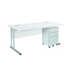 First Rectangular Cantilever Desk 1600mm White Top with Silver Legs and Silver Pedestal KF839455