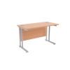 Jemini Oak/Silver W1200 x D600mm Rectangular Cantilever Desk KF839582