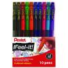 Pentel Feel-It Ballpoint Pen Medium Assorted (Pack of 10) YBX490/10-M
