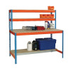 Blue and Orange Workbench With Upper and Lower Shelves 1200x750mm 375518