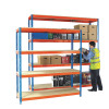 Heavy Duty Painted Additional Shelf 2100x450mm Orange/Zinc 378860