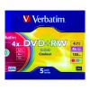 Verbatim DVD+RW 4x 4.7GB Non-Printable Colours Slim Case (Pack of 5) 43297