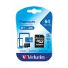 Verbatim Premium SDXC Micro Card With Adapter 64GB 44084
