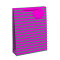 Striped Gift Bag Medium Pink/Silver (Pack of 6) 26652-3