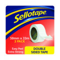 Sellotape Double Sided Tape 50mmx33m (Pack of 3) 1447054