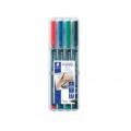 Staedtler Lumocolour Pen Permanent Fine Assorted (Pack of 4) 318-WP4