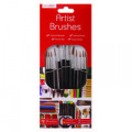 Work of Art Natural Bristle Artist Brushes Flat Tip Black (Pack of 12) TAL06717